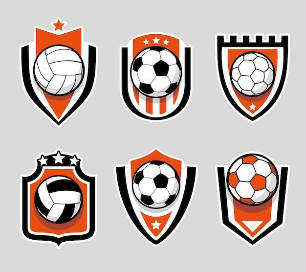 Conjunto de logotipo colorido de futebol e futebol