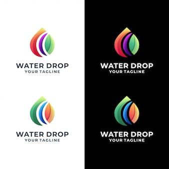 Conjunto de logotipo colorido de gota de água