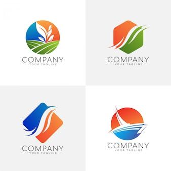 Conjunto de logotipo colorido de natureza