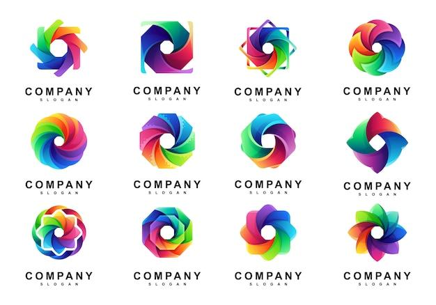 Conjunto de logotipo colorido do círculo de mídia