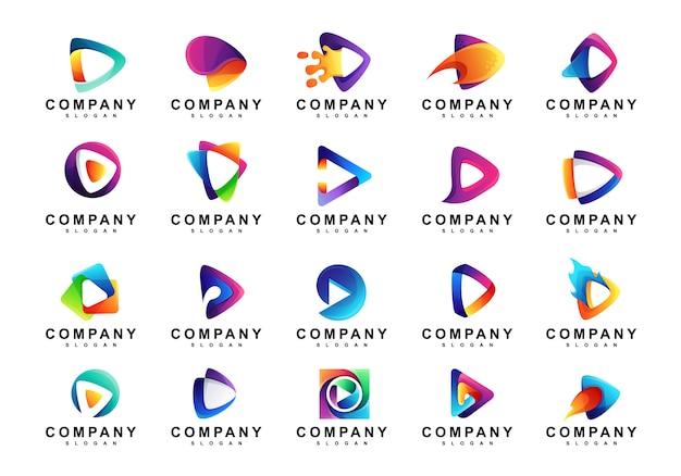 Conjunto de logotipo colorido do media play