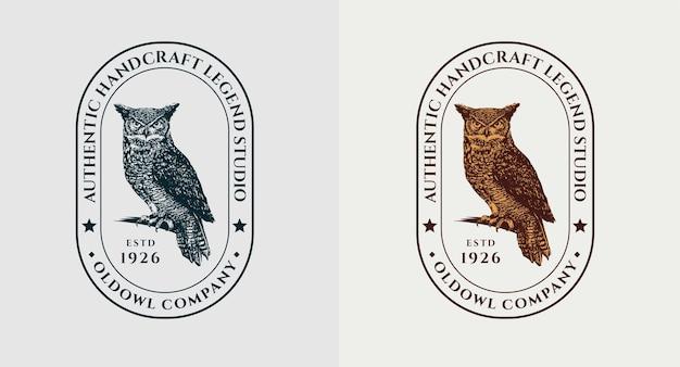 Conjunto de logotipo com gravura de coruja