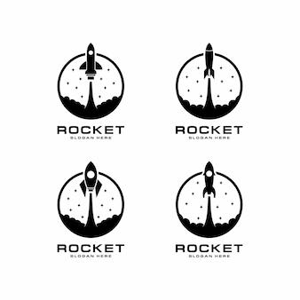Conjunto de logotipo com lançamento de foguete