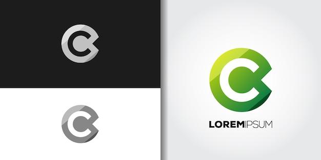 Conjunto de logotipo com letra c verde