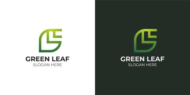 Conjunto de logotipo com letra g de combinação minimalista de folhas