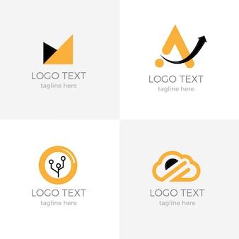 Conjunto de logotipo comercial exclusivo na cor laranja preto