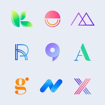 Conjunto de logotipo comercial gradiente criativo