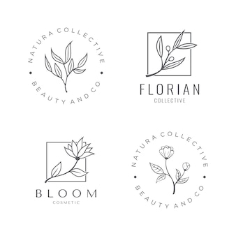 Conjunto de logotipo cosmético natural com uma bela flor