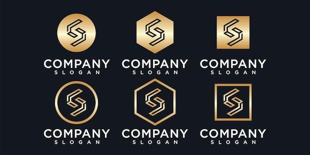 Conjunto de logotipo criativo da letra do monograma com modelo de estilo dourado