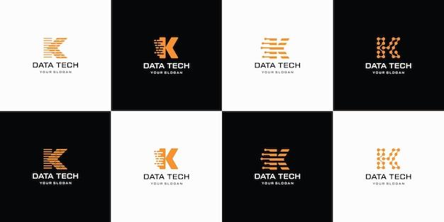 Conjunto de logotipo criativo da letra k com modelo de logotipo de forma abstrata