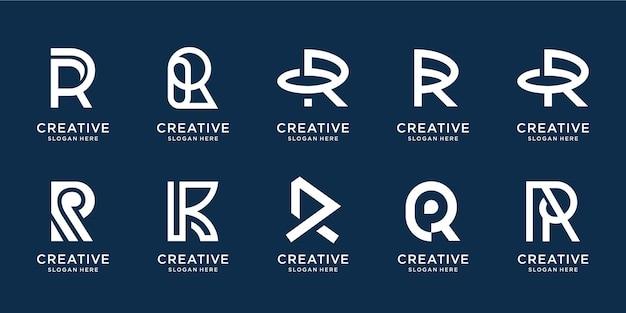 Conjunto de logotipo criativo da letra r inicial em modelo preto e branco. ícones para negócios de luxo, elegantes e simples.