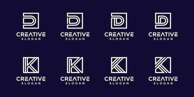 Conjunto de logotipo criativo do monograma k, d