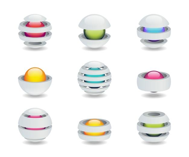Conjunto de logotipo criativo em forma de bola com um núcleo brilhante.