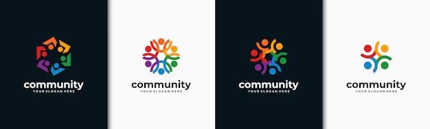 Conjunto de logotipo criativo grupo social colorido