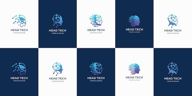 Conjunto de logotipo criativo hea tech com modelo de logotipo de forma abstrata