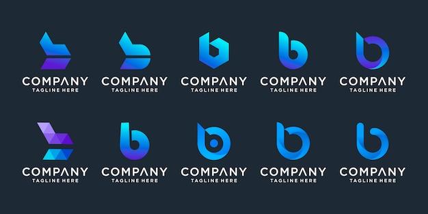 Conjunto de logotipo criativo letra b