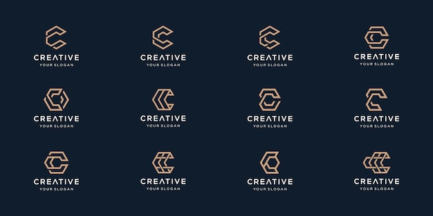 Conjunto de logotipo criativo letra c
