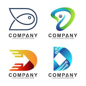 Conjunto de logotipo criativo letra d