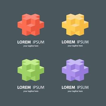 Conjunto de logotipo cubo isométrico