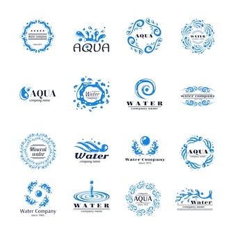 Conjunto de logotipo da água