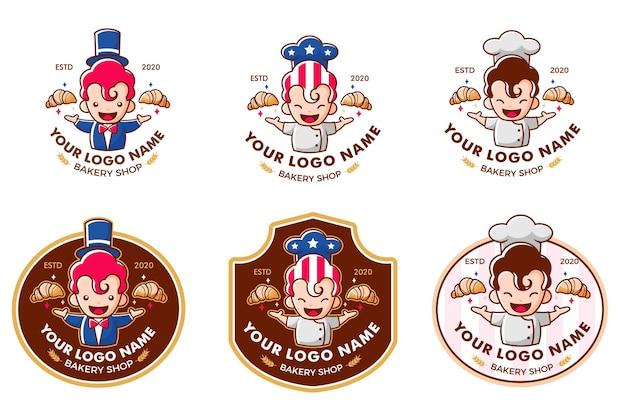 Conjunto de logotipo da american magic bakery shop