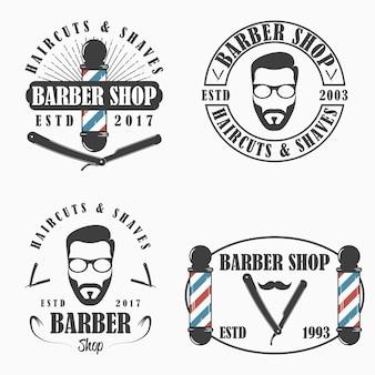 Conjunto de logotipo da barbearia. modelos de emblemas de salão de cabeleireiro. ilustração vetorial.