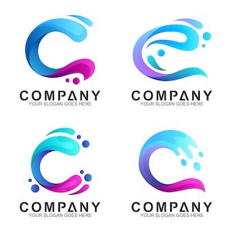 Conjunto de logotipo da combinação de onda letra c