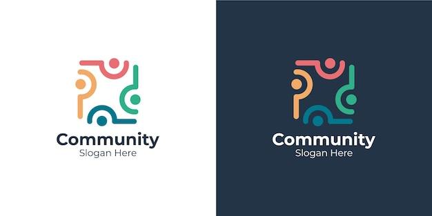 Conjunto de logotipo da comunidade de estilo linear colorido
