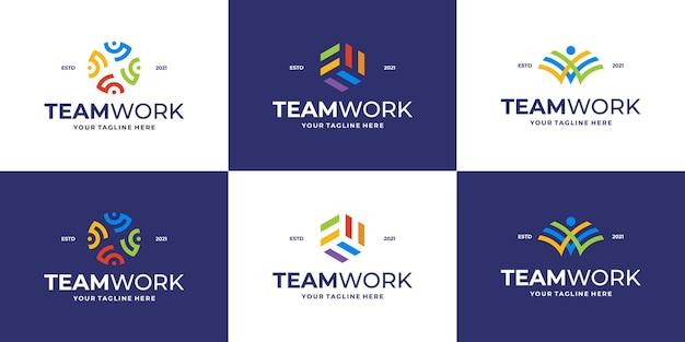 Conjunto de logotipo da comunidade ou modelo de logotipo de clínica médica