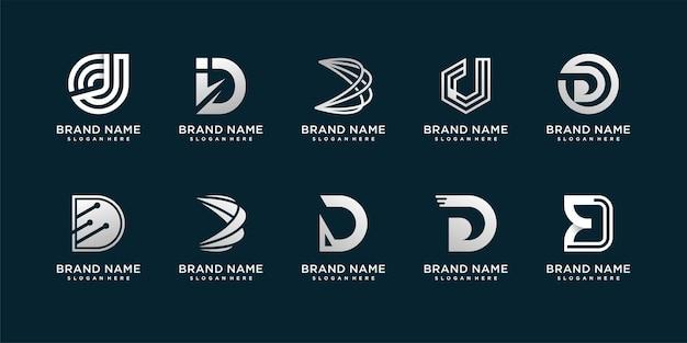 Conjunto de logotipo da letra d com conceito criativo moderno