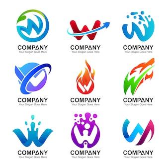 Conjunto de logotipo da letra inicial w