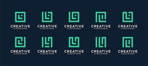 Conjunto de logotipo da letra l em estilo quadrado