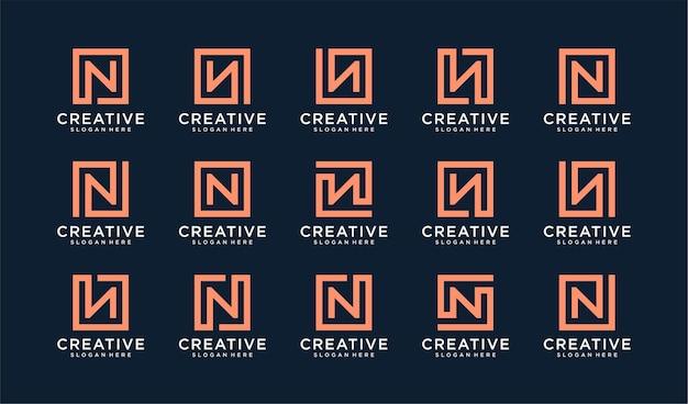 Conjunto de logotipo da letra n em estilo quadrado