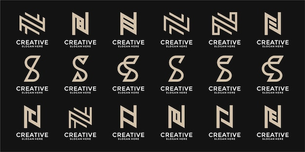 Conjunto de logotipo da letra ne da letra s do monograma