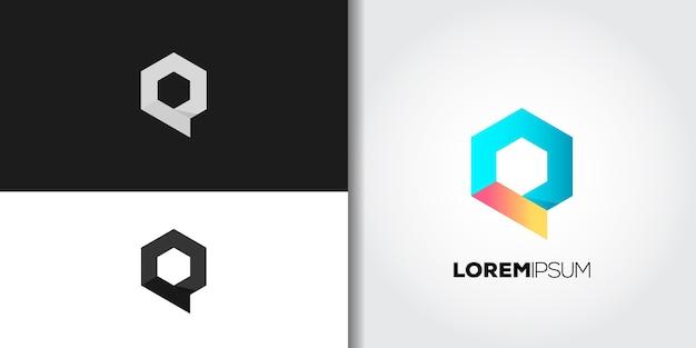 Conjunto de logotipo da letra q