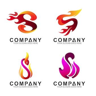 Conjunto de logotipo da letra s + fogo