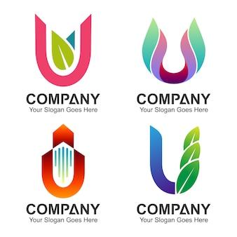 Conjunto de logotipo da letra u
