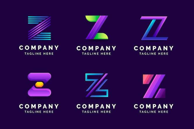 Conjunto de logotipo da letra z gradiente