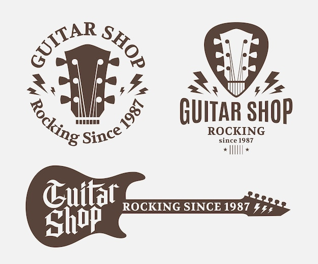 Conjunto de logotipo da loja de guitarras