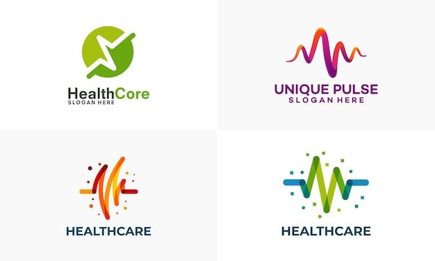 Conjunto de logotipo da pulse healthcare