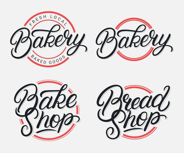 Conjunto de logotipo da rotulação da padaria, padaria e padaria escritos à mão. caligrafia moderna. estilo vintage.