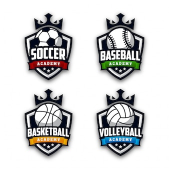 Conjunto de logotipo de academia de esporte moderno