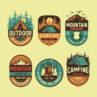 Conjunto de logotipo de acampamento e ao ar livre