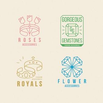 Conjunto de logotipo de acessórios de moda de design plano