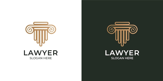 Conjunto de logotipo de advogado moderno e minimalista
