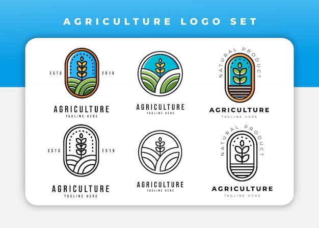 Conjunto de logotipo de agricultura
