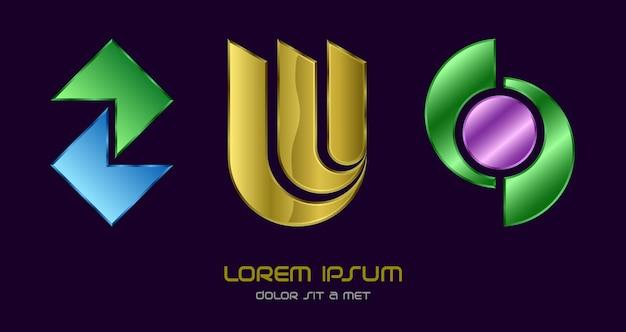 Conjunto de logotipo de alta tecnologia