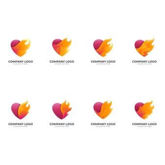 Conjunto de logotipo de amor com design de fogo