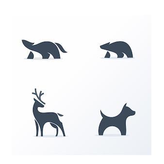 Conjunto de logotipo de animais preto e branco