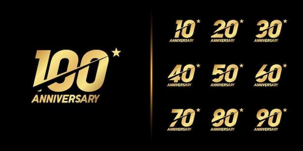 Conjunto de logotipo de aniversário. celebração de aniversário de ouro.